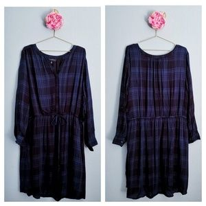 Lane Bryant Black Blue Plaid Dress
